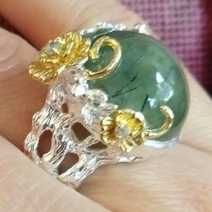 Jewelry - Gorgeous unique prehnite fine artistic ring